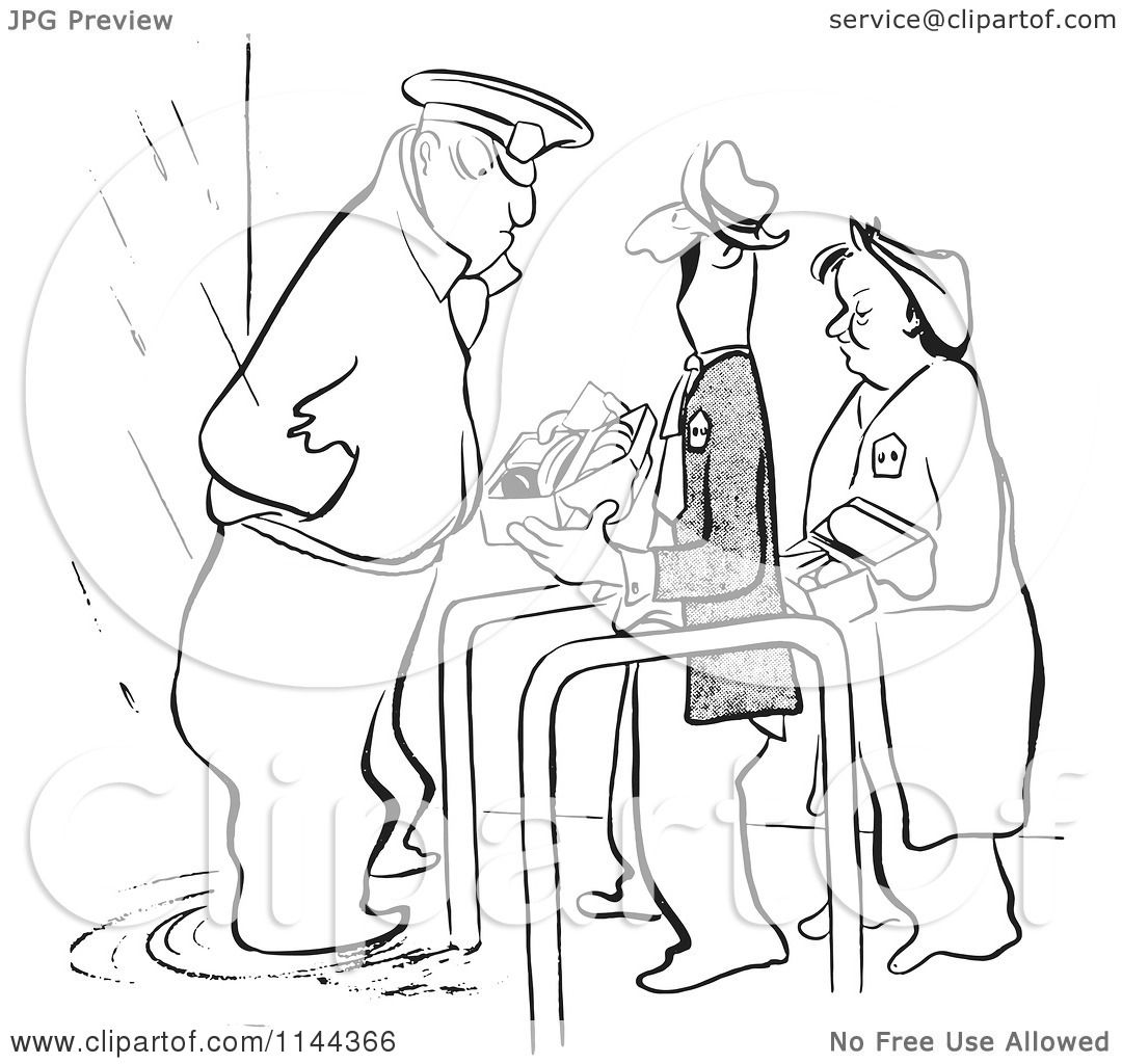 Cartoon Of A Black And White Security Guard Inspecting