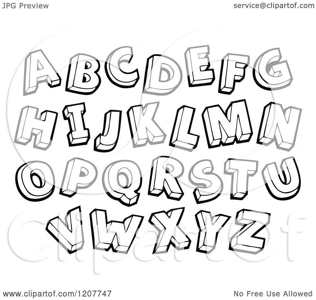 Cartoon Of A Black And White Sketched Alphabet Letters