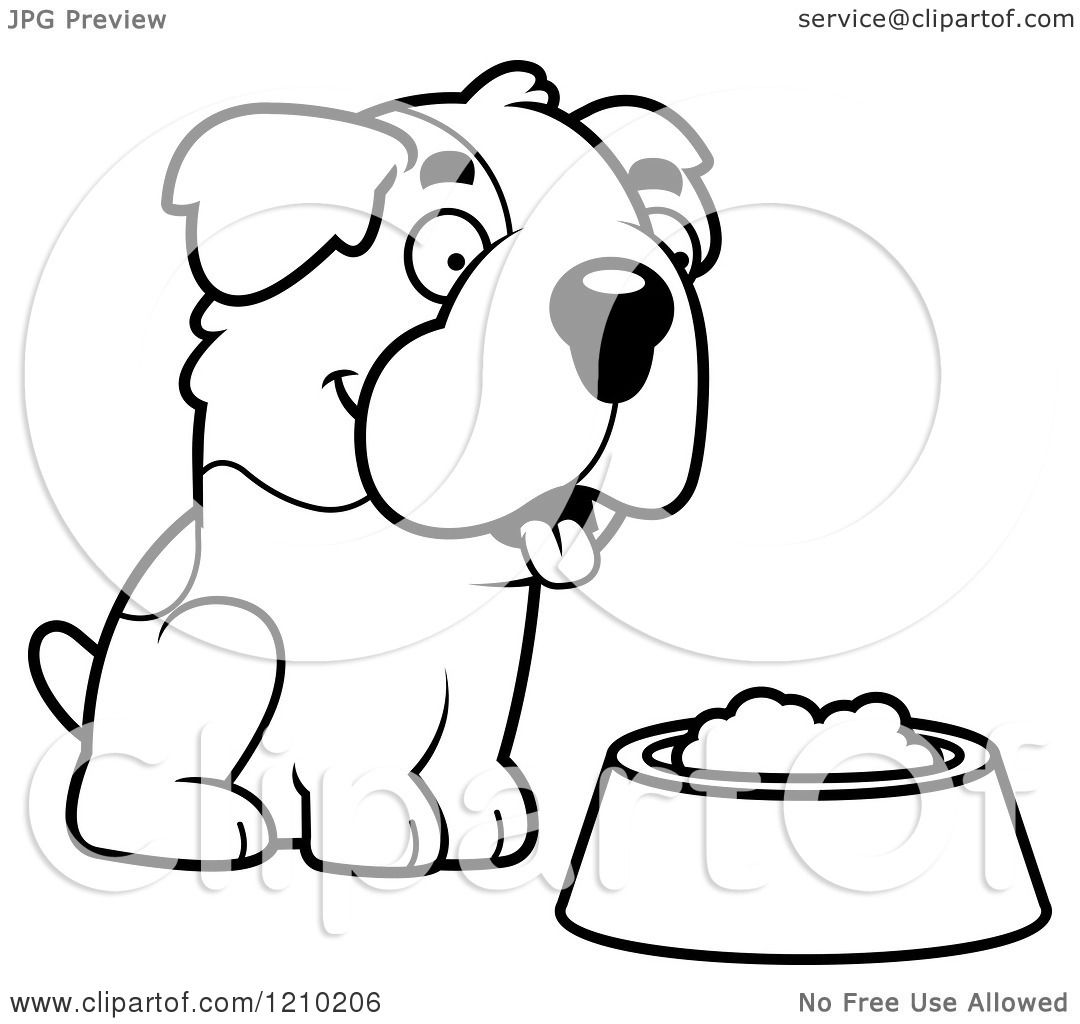 Cartoon Of A Black And White St Bernard Dog Sitting Over A