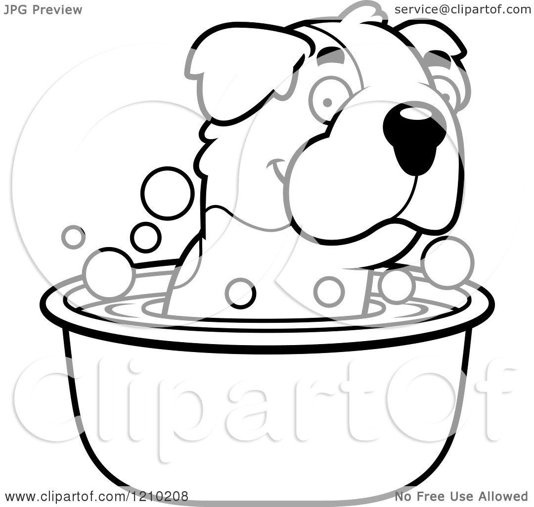 Cartoon Of A Black And White St Bernard Dog Taking A Bath