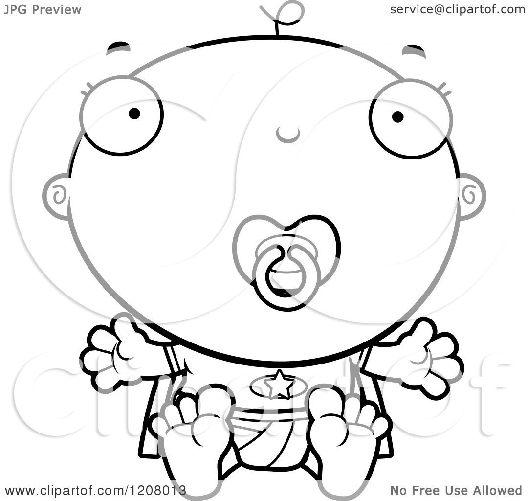 Cartoon Of A Black And White Super Infant Baby Boy With A Pacifier