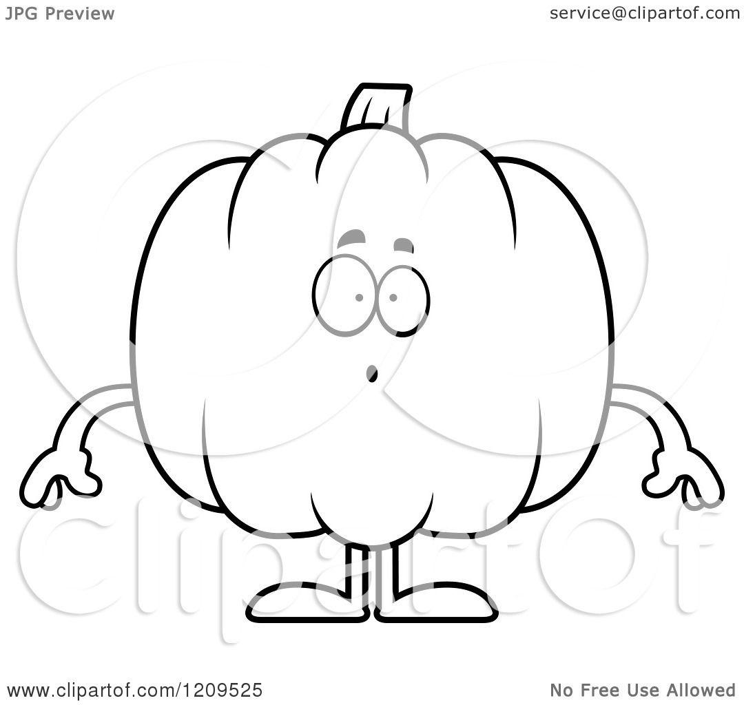 Cartoon Of A Black And White Surprised Pumpkin Mascot