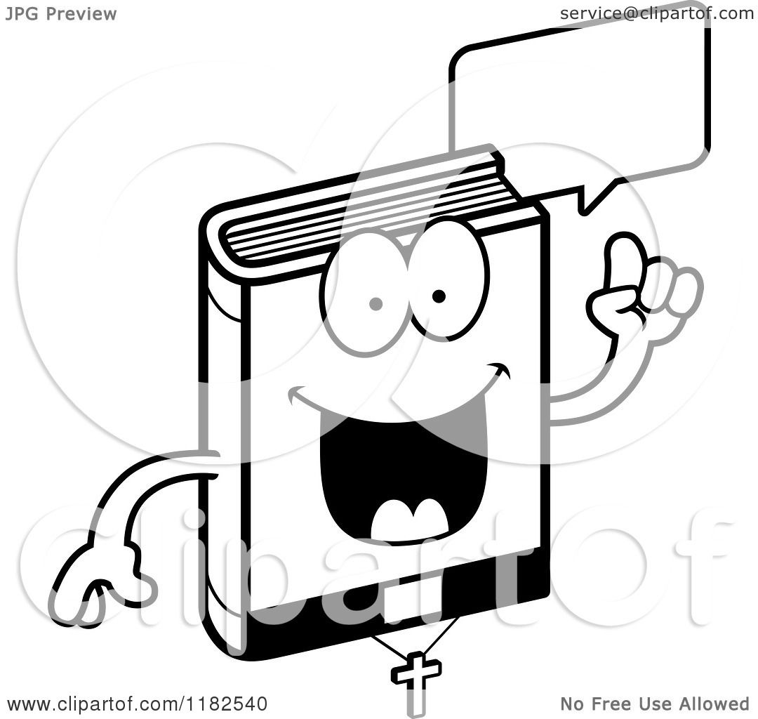 Cartoon Of A Black And White Talking Bible Mascot