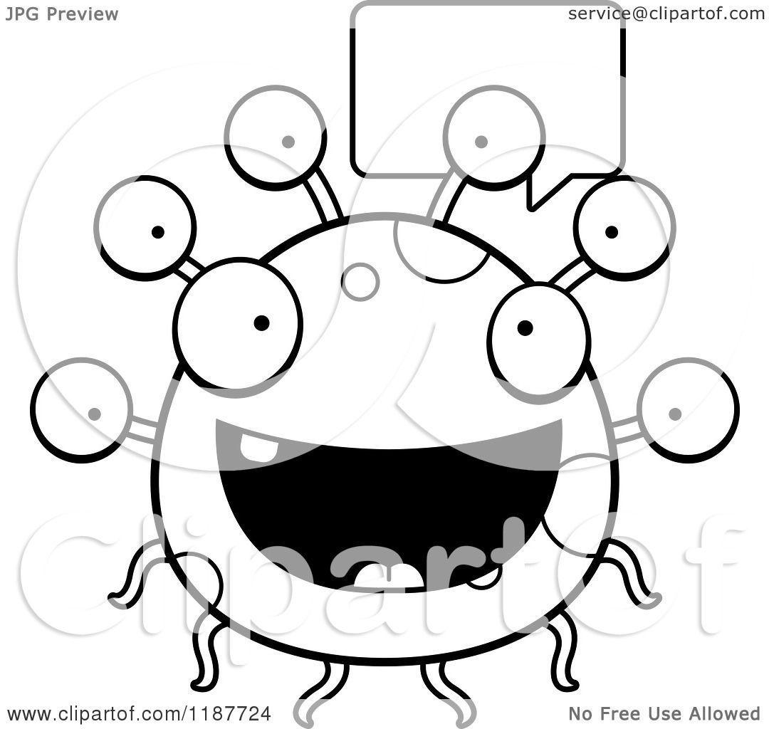 Cartoon Of A Black And White Talking Eyeball Monster