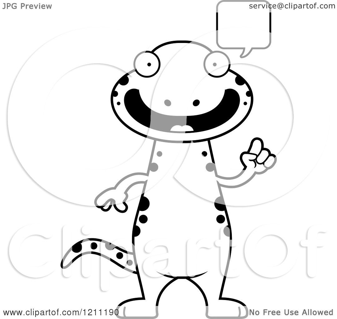 Cartoon Of A Black And White Talking Slim Salamander
