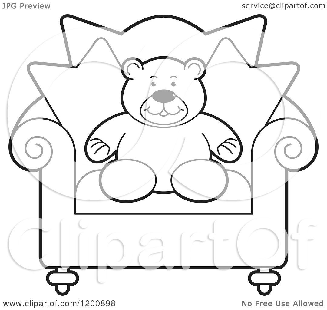 Cartoon Of A Black And White Teddy Bear In A Chair