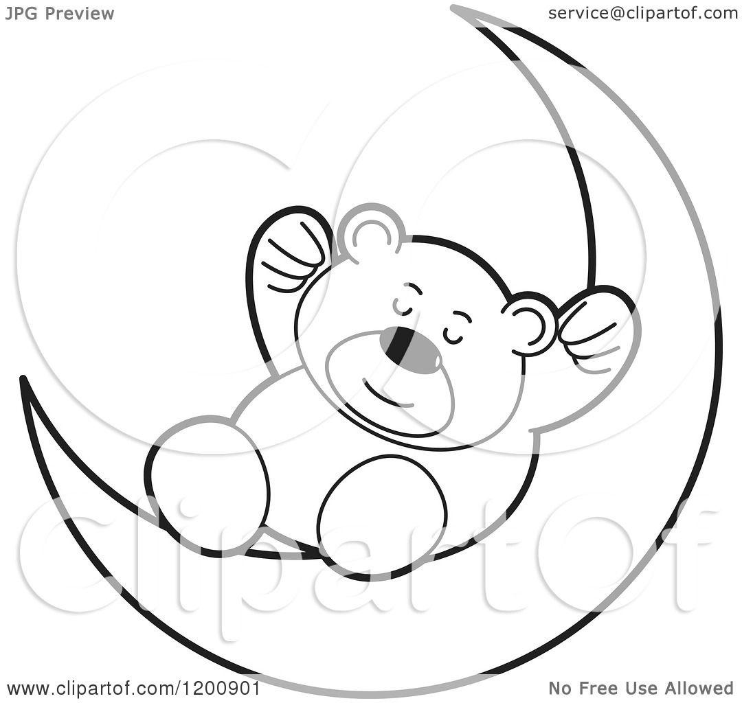 Cartoon Of A Black And White Teddy Bear Sleeping On A