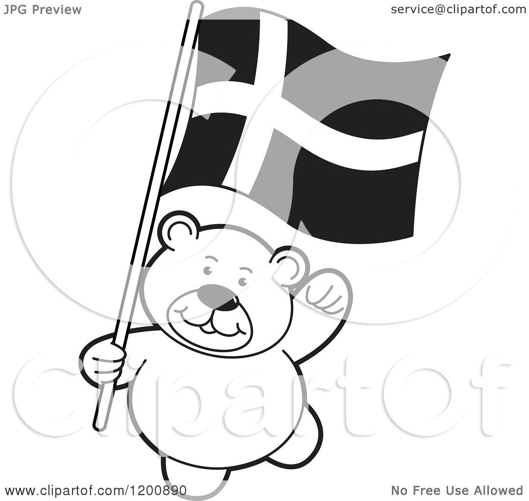 Cartoon Of A Black And White Teddy Bear With A Denmark