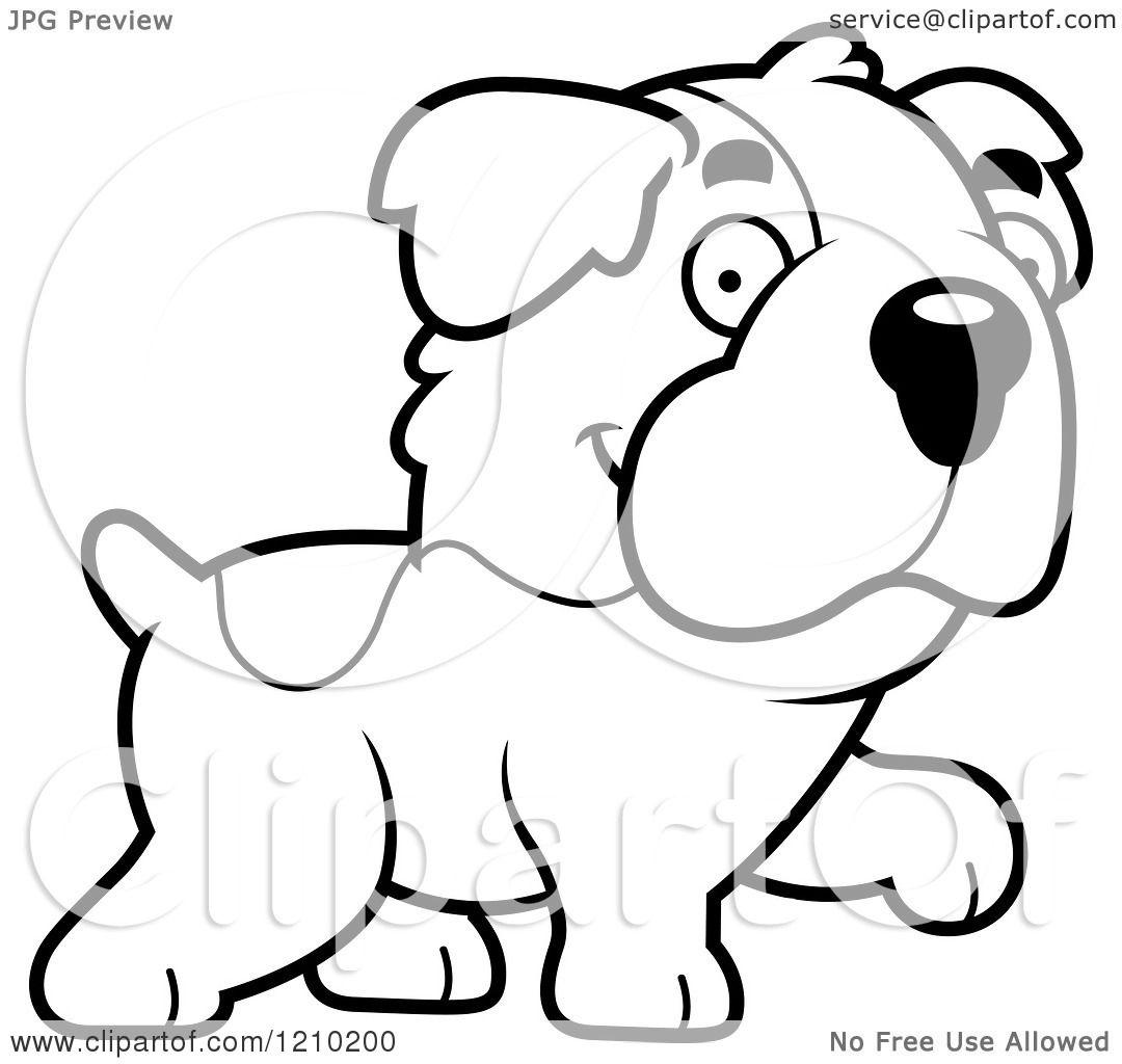 Cartoon Of A Black And White Walking St Bernard Dog