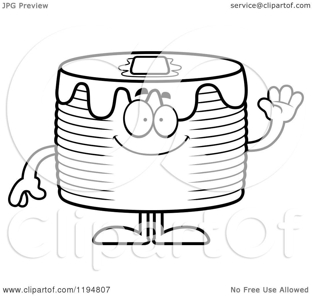 Cartoon Of A Black And White Waving Pancakes Mascot