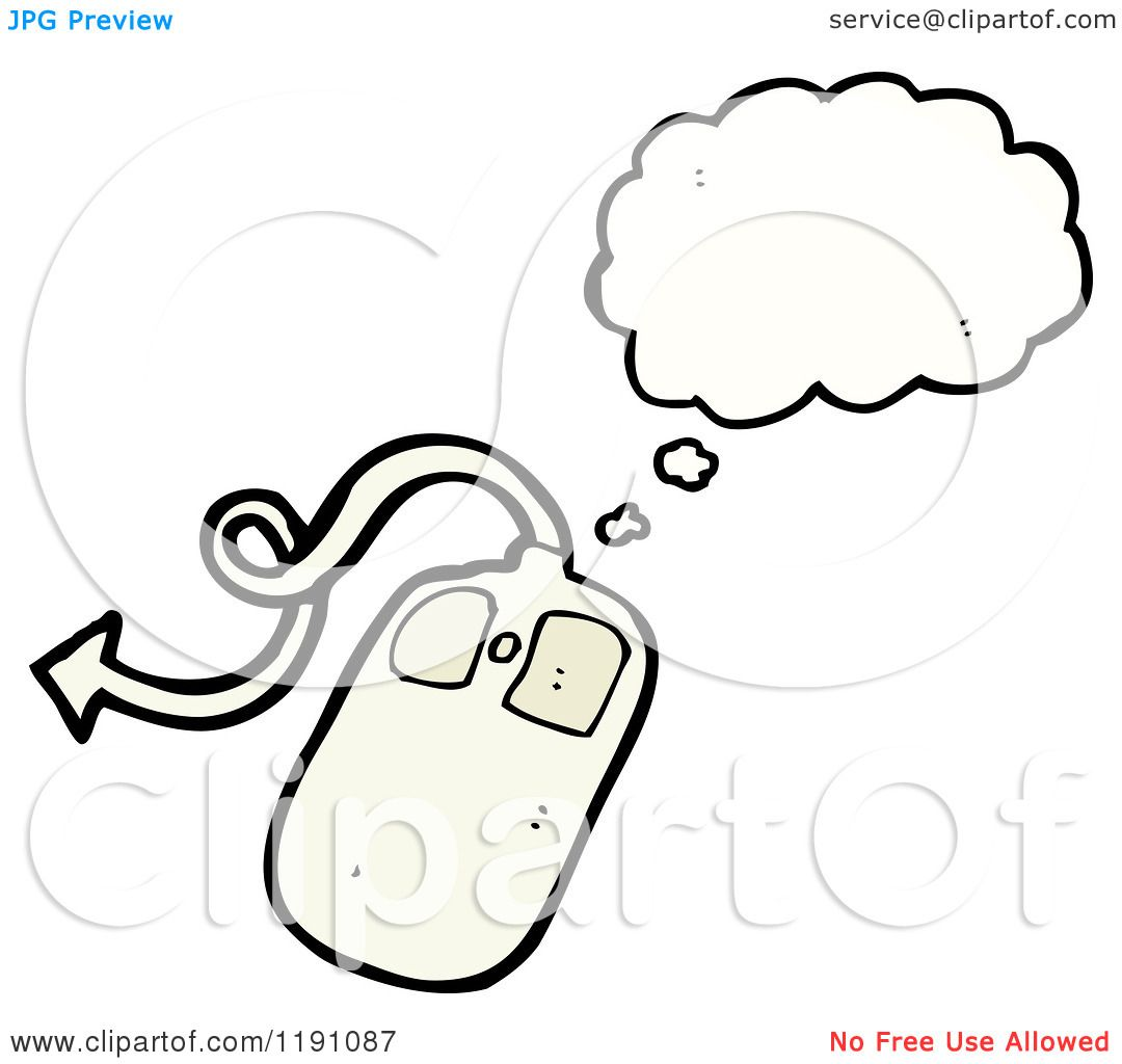Cartoon Of A Computer Mouse Thinking