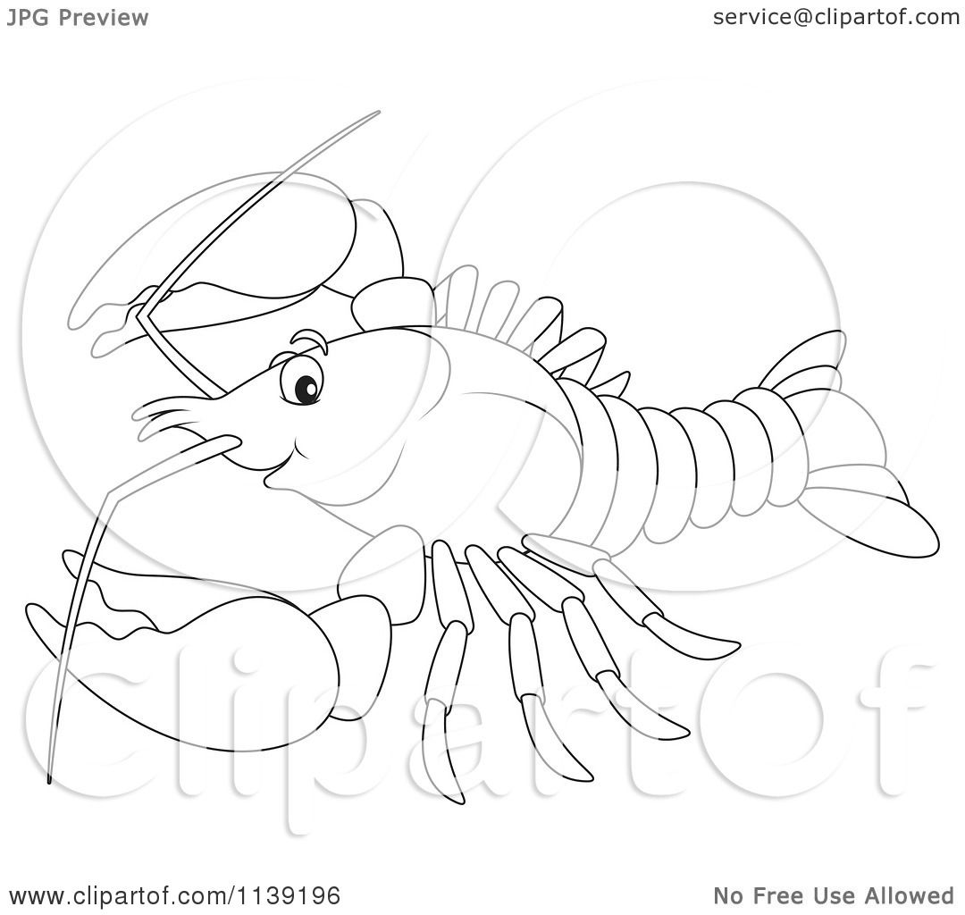 Cartoon Of A Cute Black And White Lobster