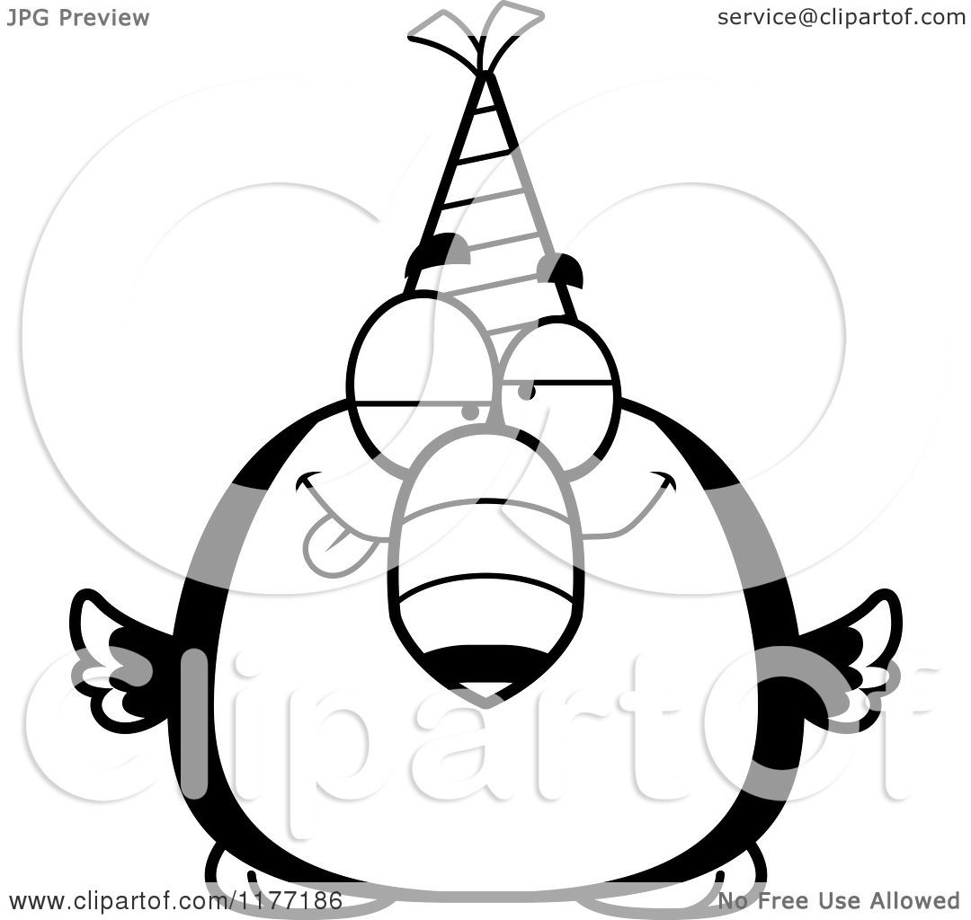 Cartoon Of A Drunk Birthday Toucan Wearing A Party Hat