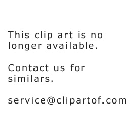 Cartoon of a Floating Astronaut Boy and Rocket over a