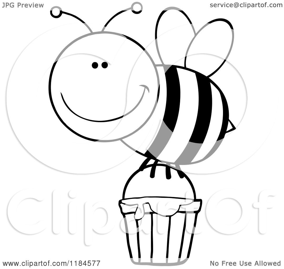 Cartoon Of A Happy Black And White Bee With A Honey Bucket