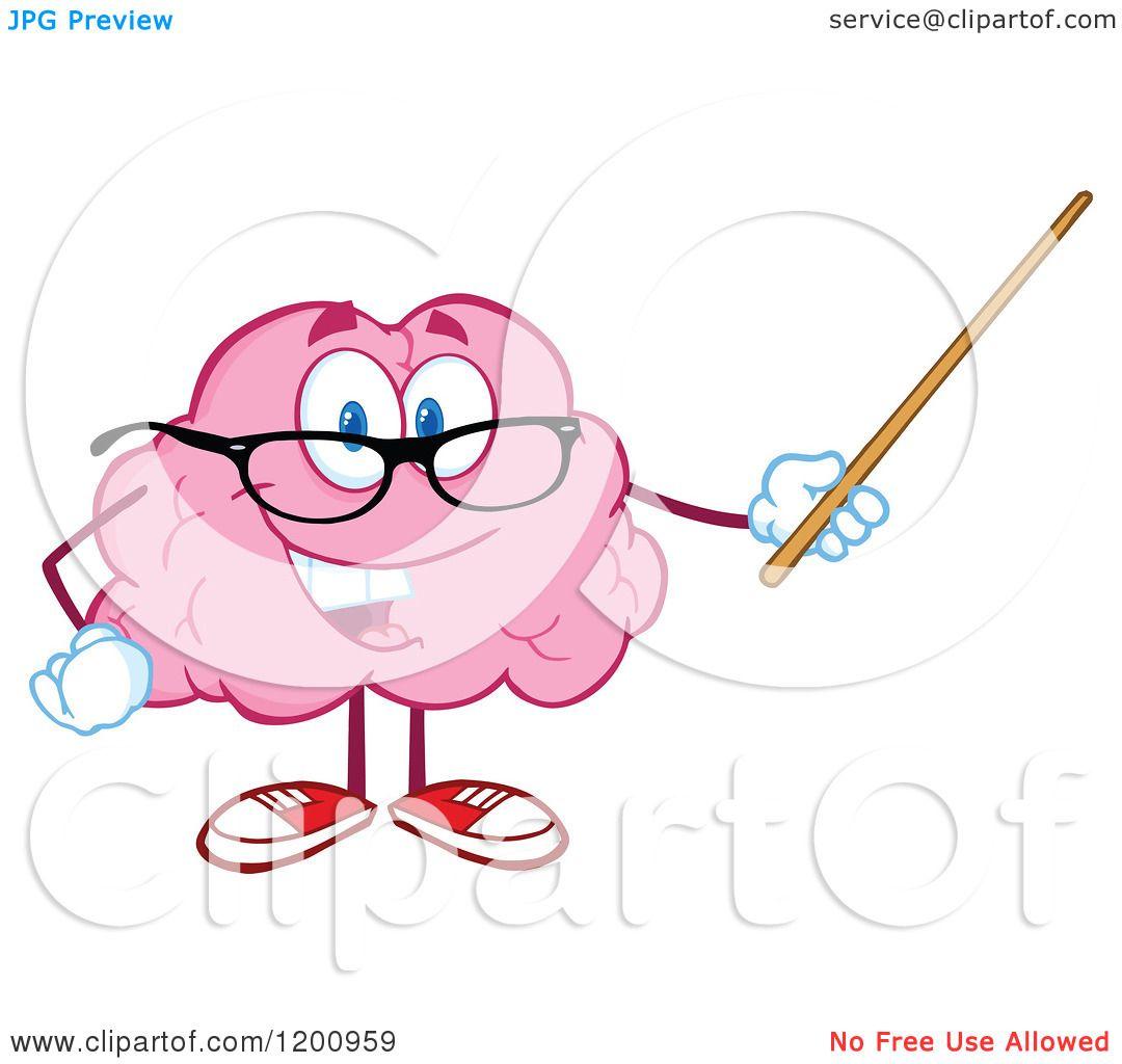 Download Cartoon of a Happy Brain Teacher Holding a Pointer Stick ...