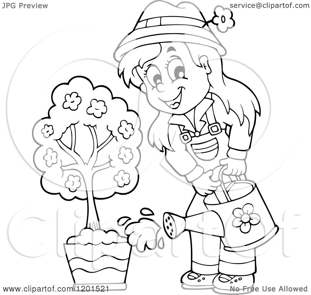 Cartoon Of A Happy Outlined Girl Watering A Potted Tree