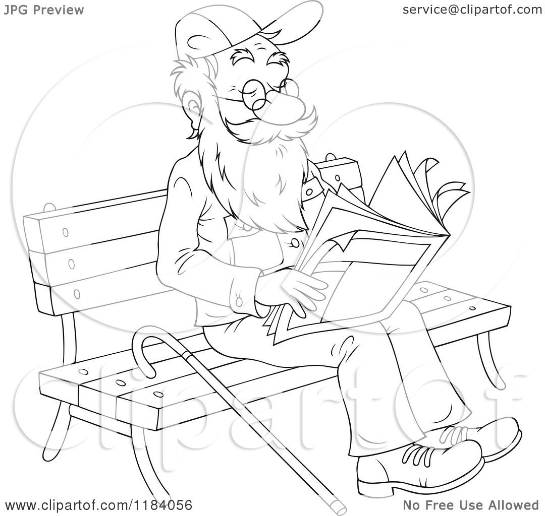 Cartoon Of A Happy Outlined Senior Man Reading The