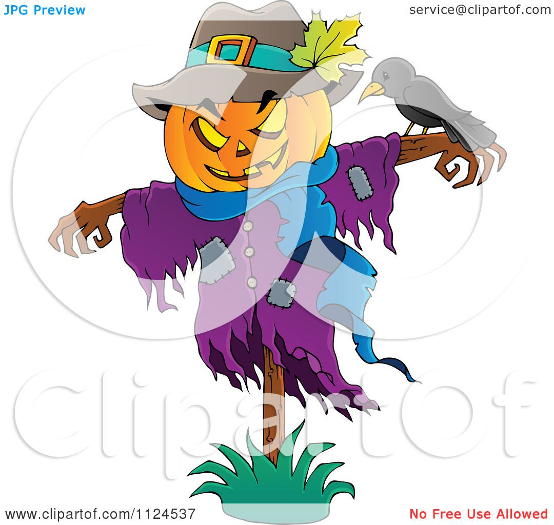Cartoon Of A Jackolantern Halloween Scarecrow And Bird
