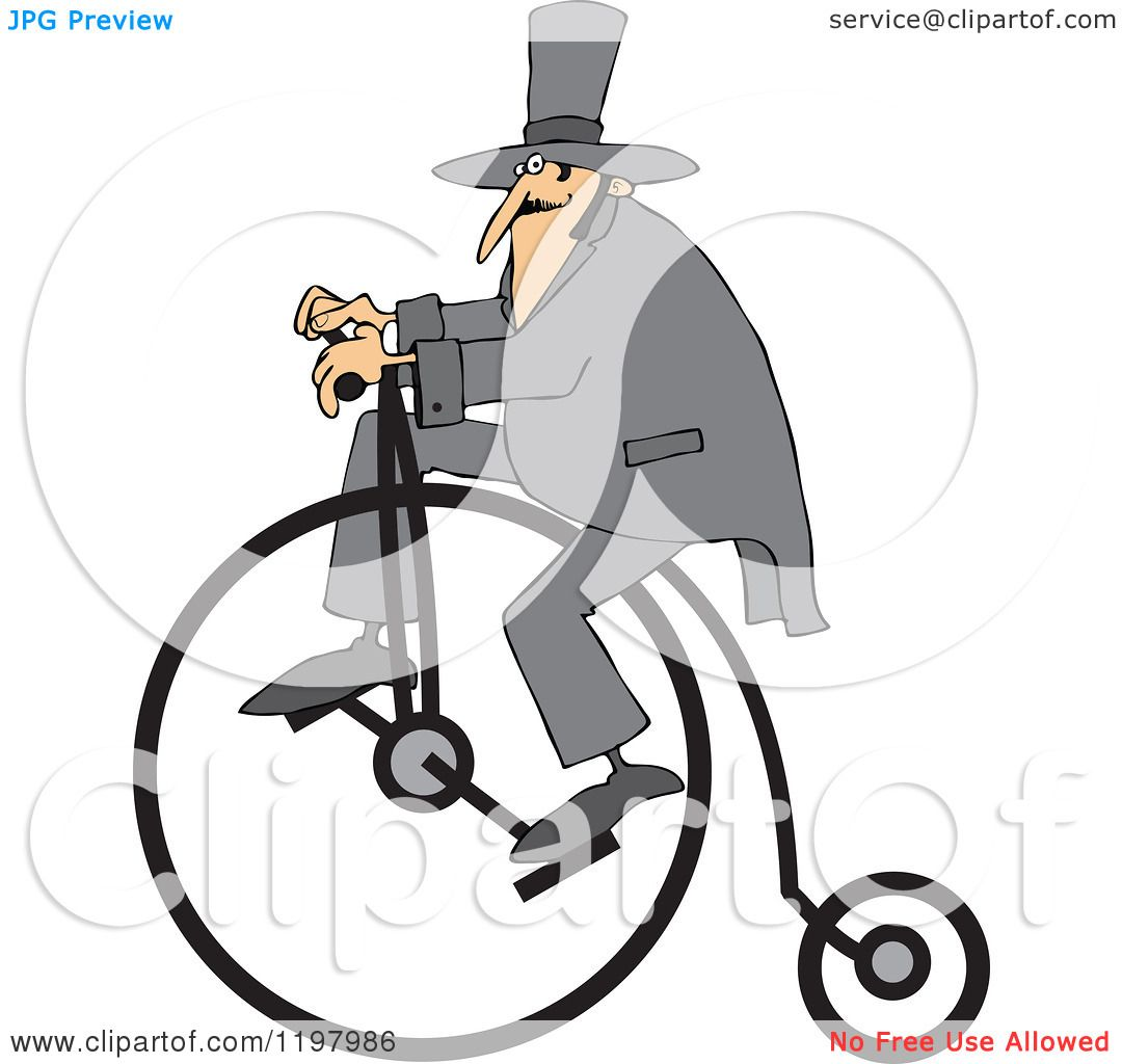 Cartoon Of A Man Wearing A Top Hat And Riding A Penny
