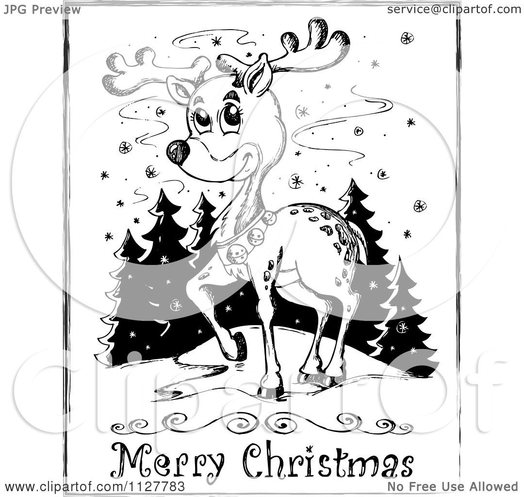Cartoon Of A Merry Christmas Greeting And Sketched
