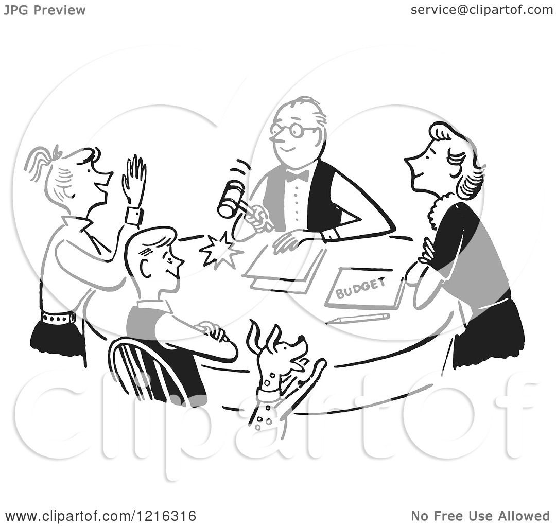 Cartoon Of A Retro Happy Family Having A Meeting About The Budget In Black And White