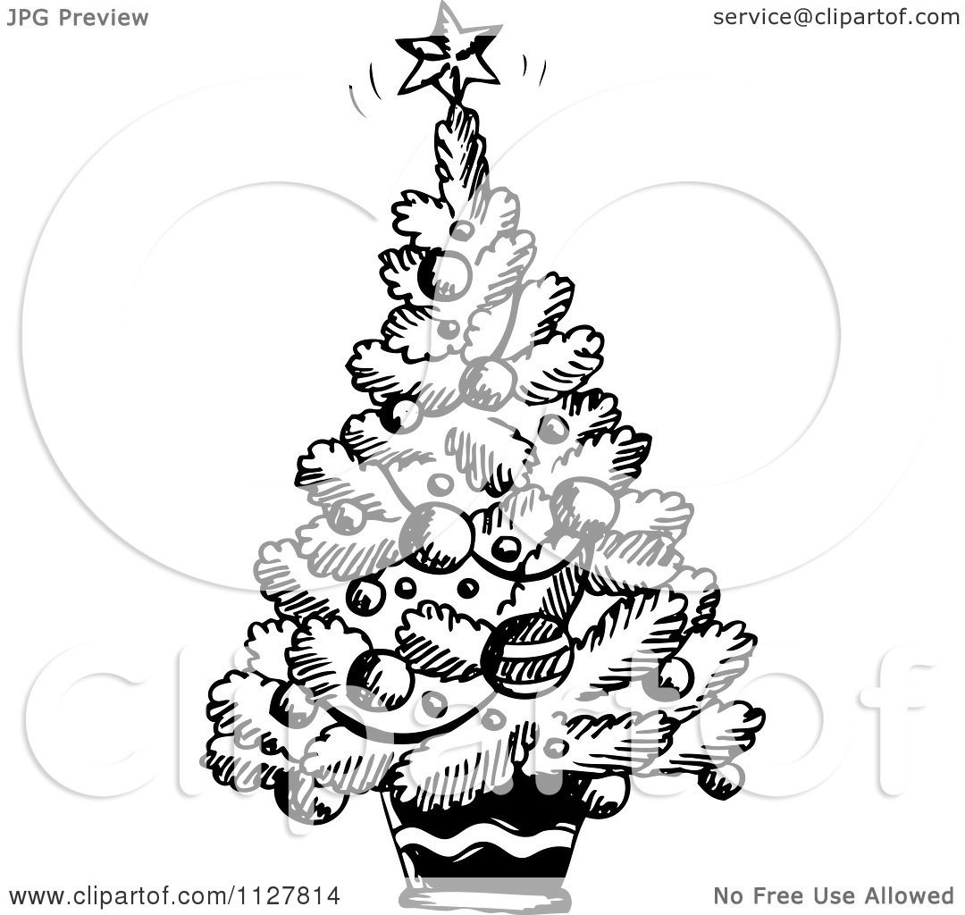 Cartoon Of A Sketched Black And White Christmas Tree