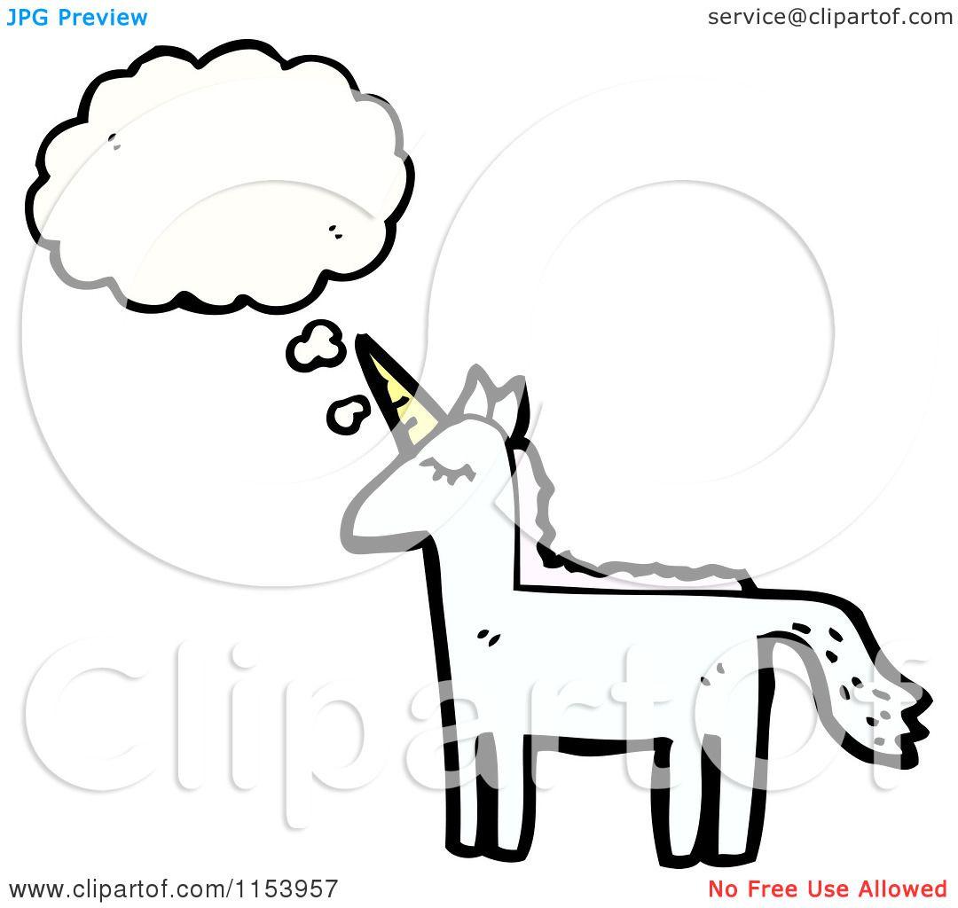 Cartoon Of A Thinking Unicorn