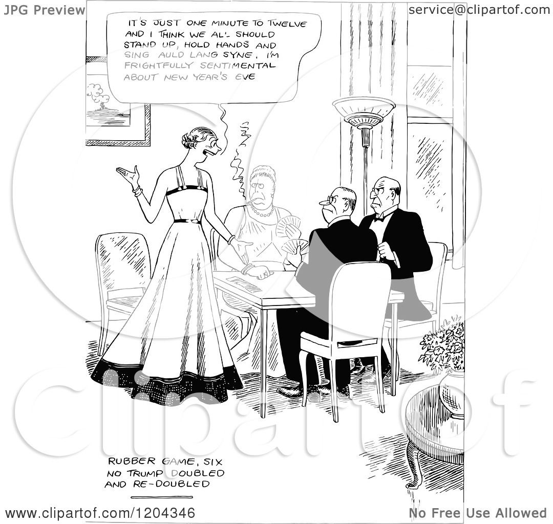 Cartoon Of A Vintage Black And White New Years Eve Card