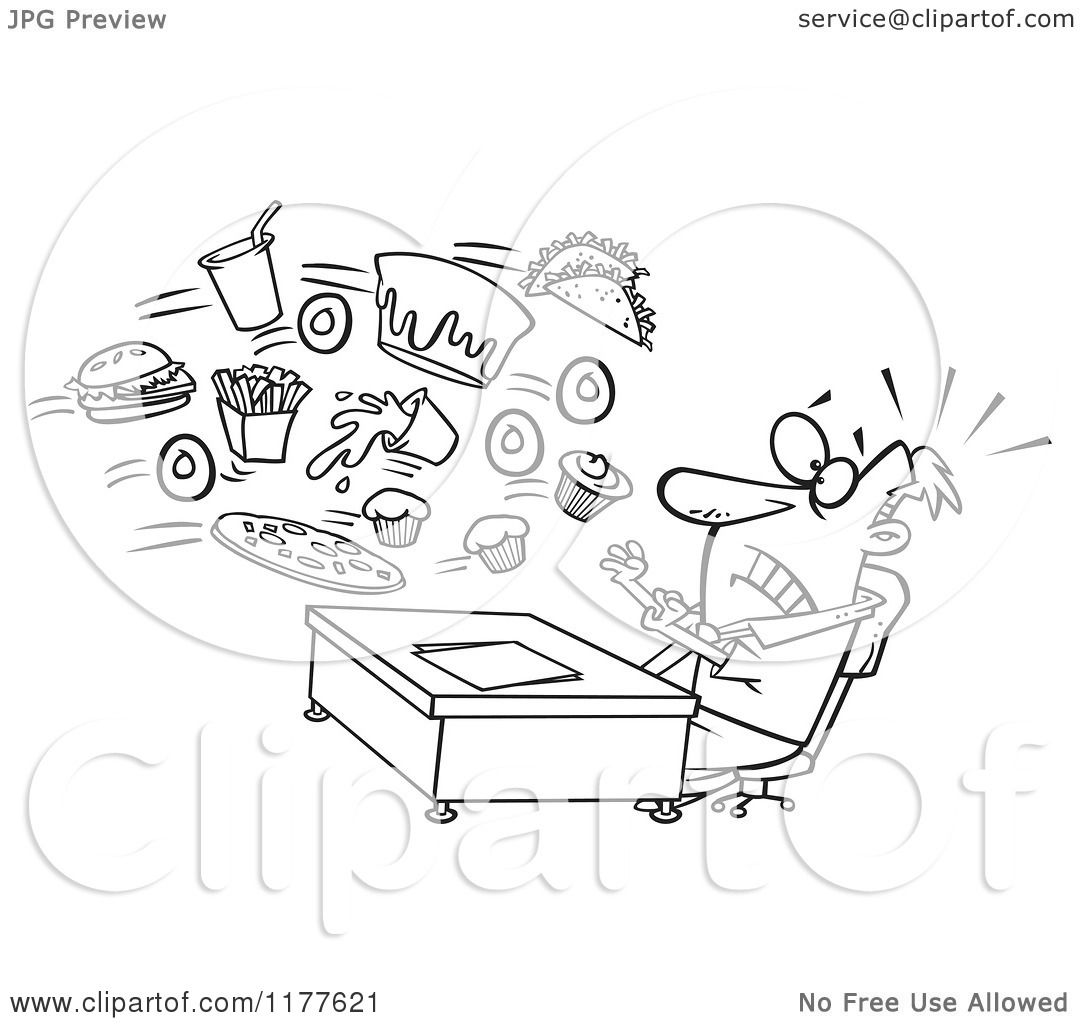 Cartoon Of An Outlined An Outlined Businessman Being