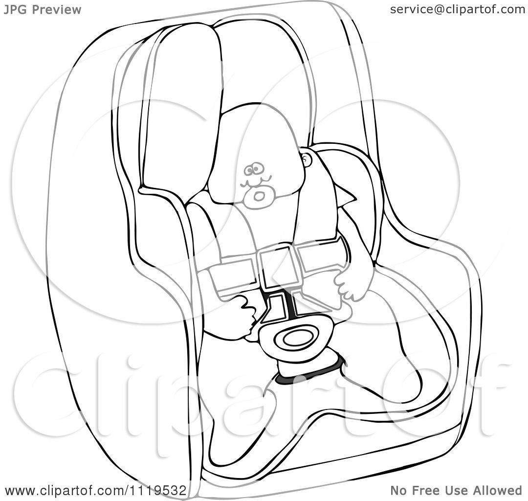 Cartoon Of An Outlined Baby In A Car Seat