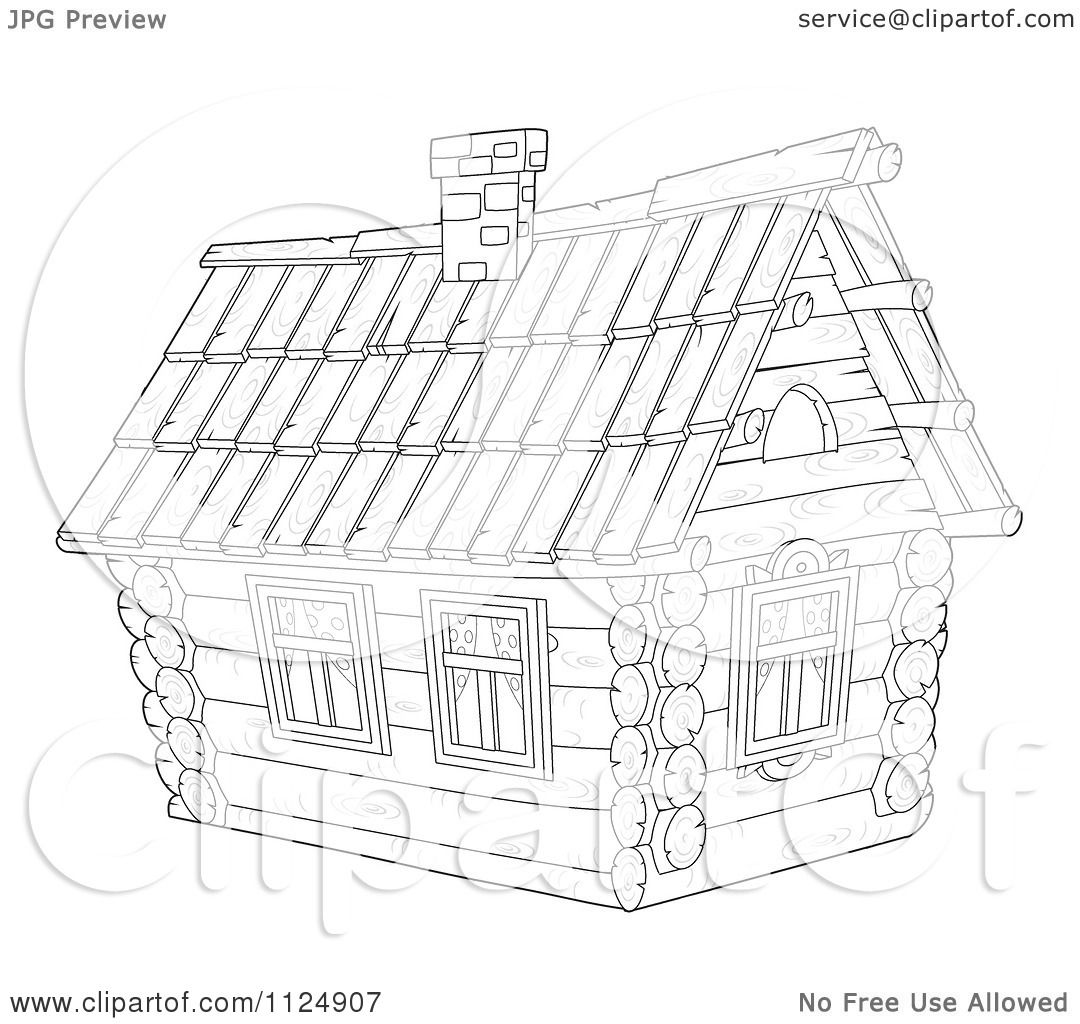 Cartoon Of An Outlined Cabin Home