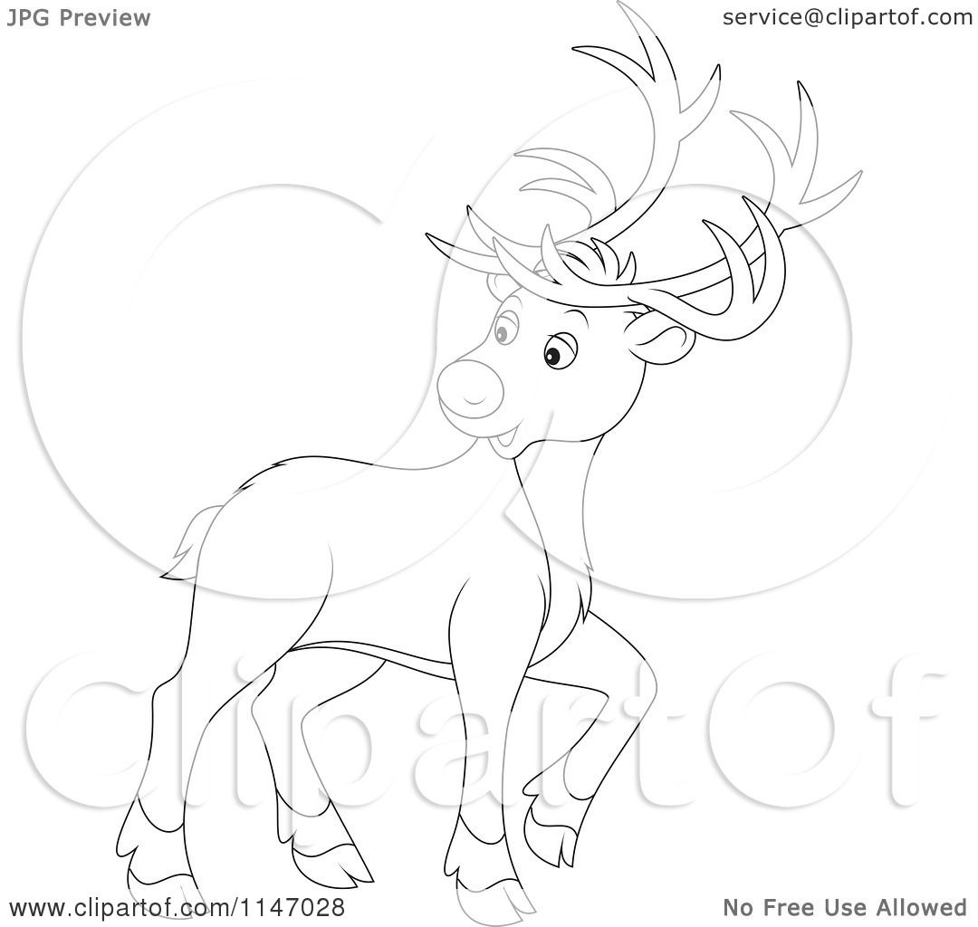 Cartoon Of An Outlined Christmas Reindeer Looking Back