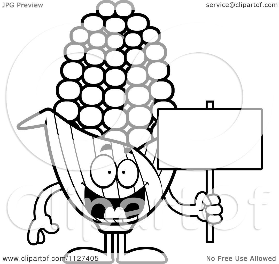 Cartoon Of An Outlined Corn Mascot Holding A Sign