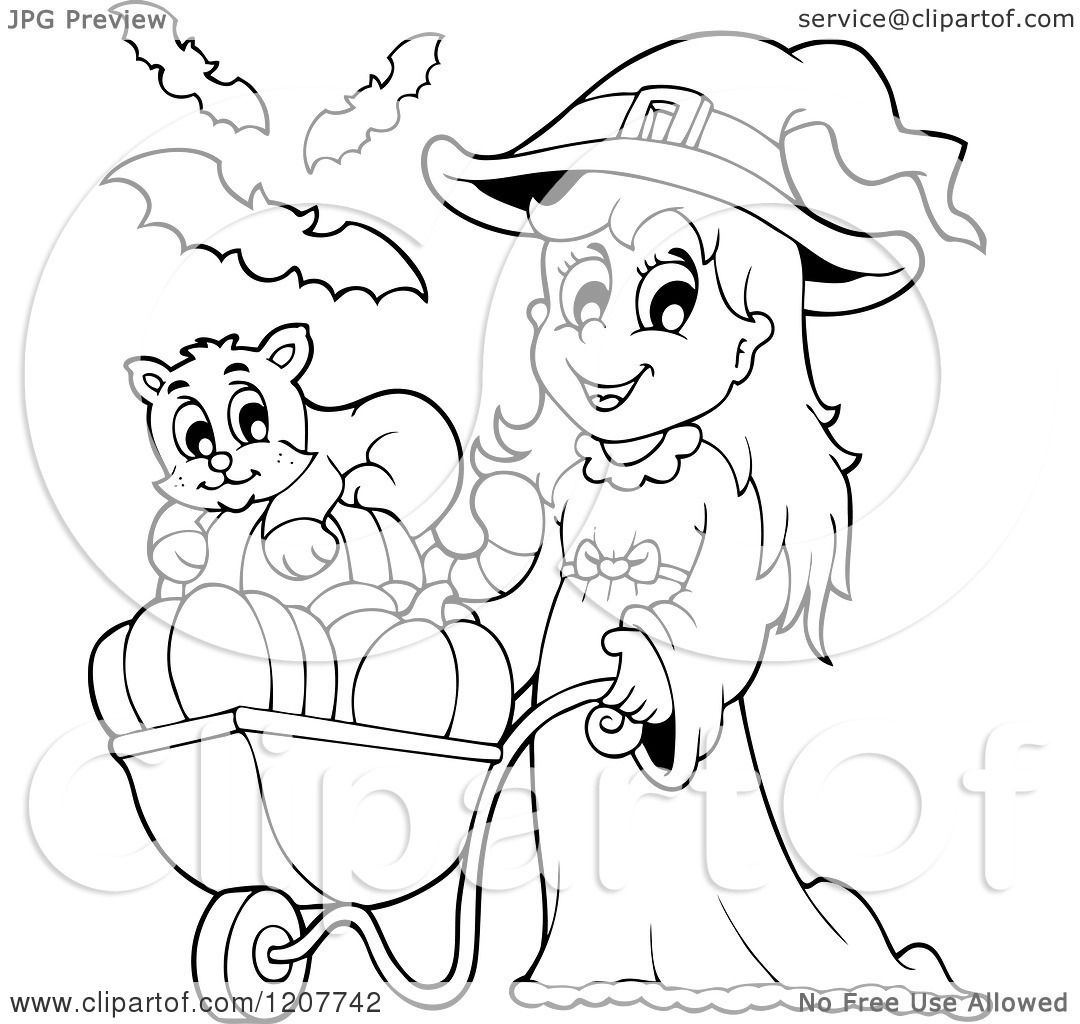 Cartoon Of An Outlined Cute Halloween Witch Girl Pushing A