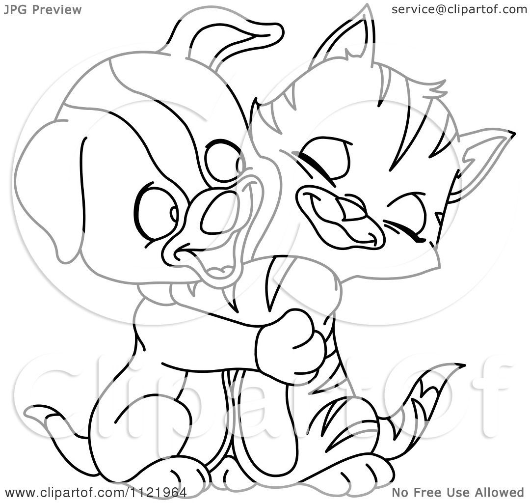 Cartoon Of An Outlined Cute Puppy And Kitten Hugging