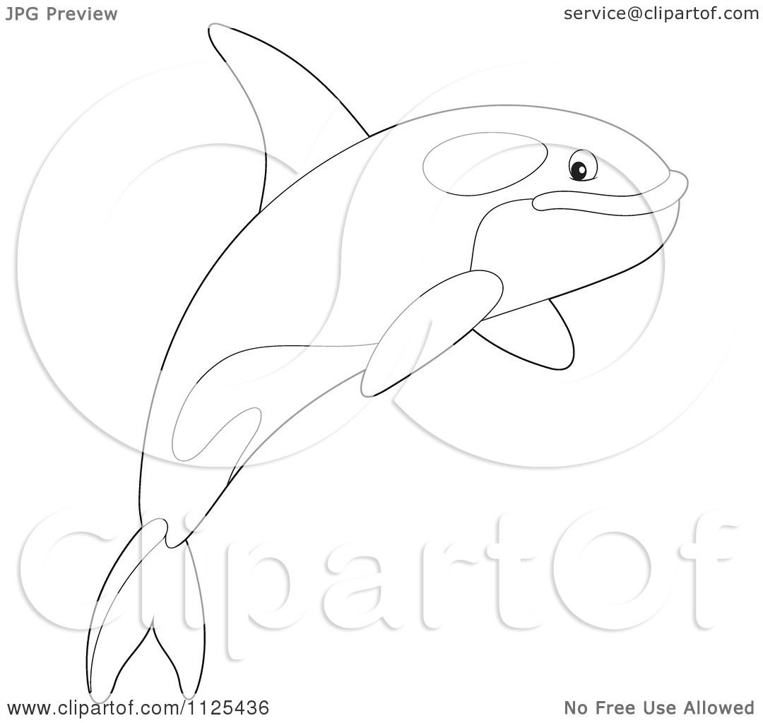Cartoon Of An Outlined Happy Jumping Orca Killer Whale