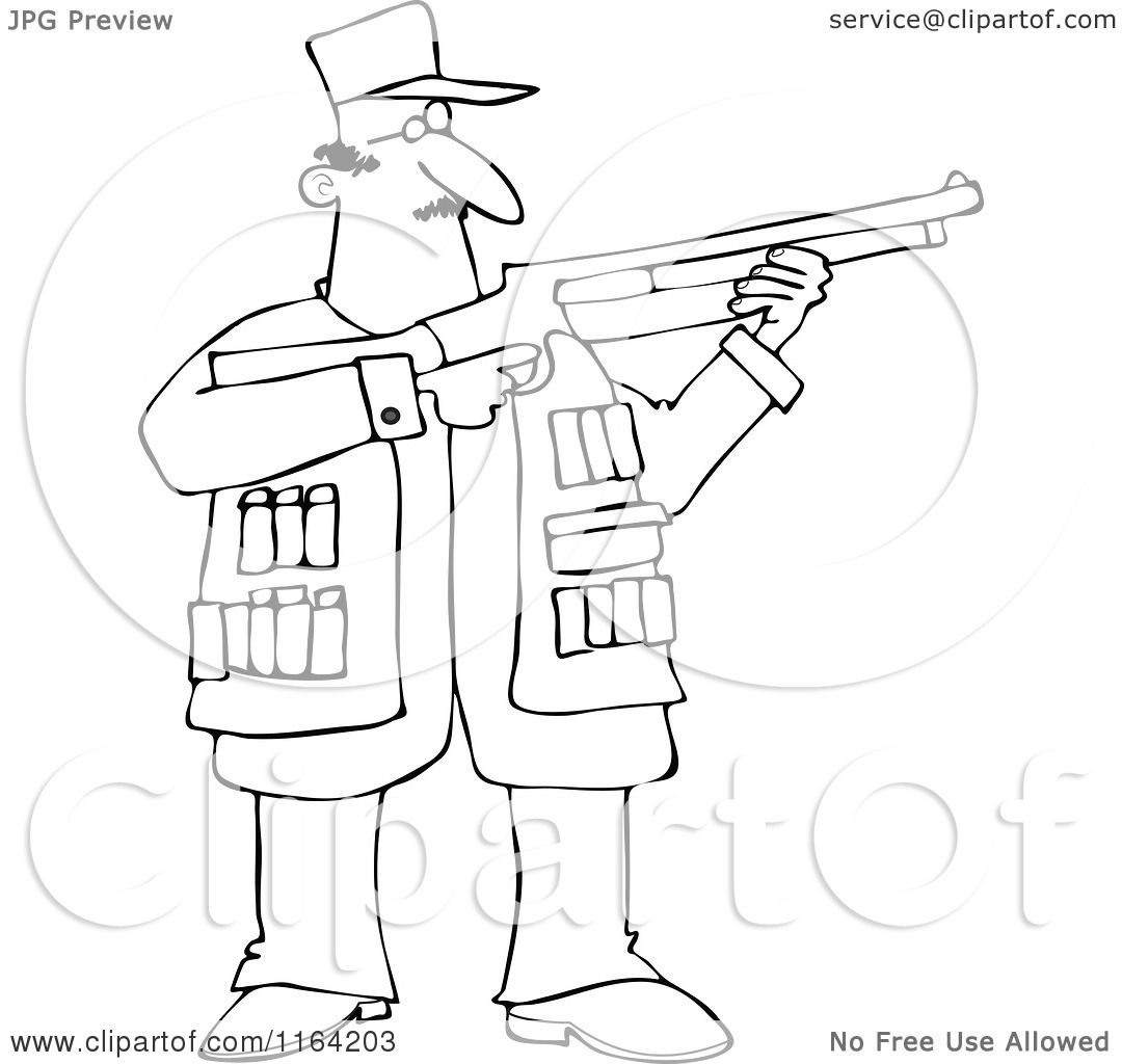 Cartoon Of An Outlined Hunting Man Using A Shotgun