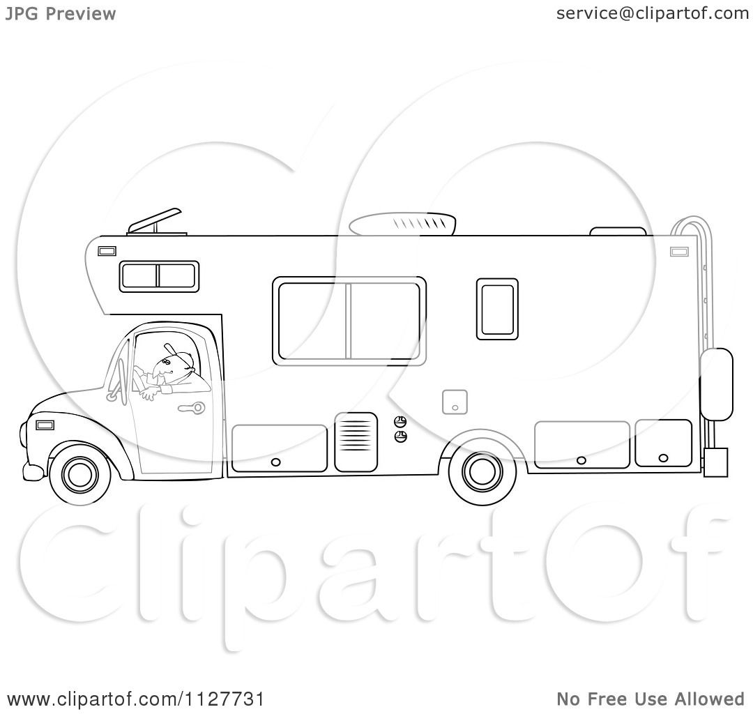 Cartoon Of An Outlined Man Driving A Motor Home Rv