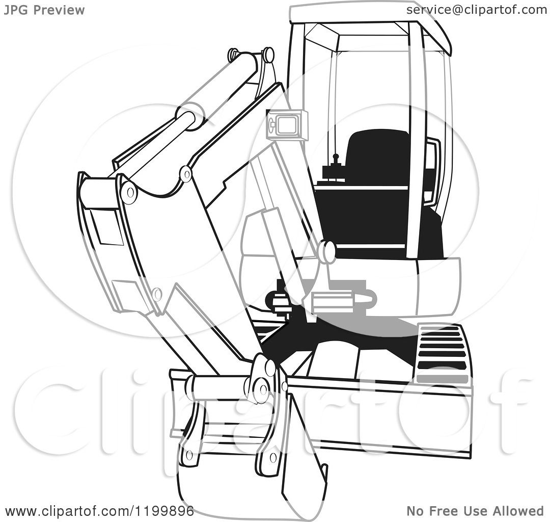 Cartoon Of An Outlined Mini Excavator