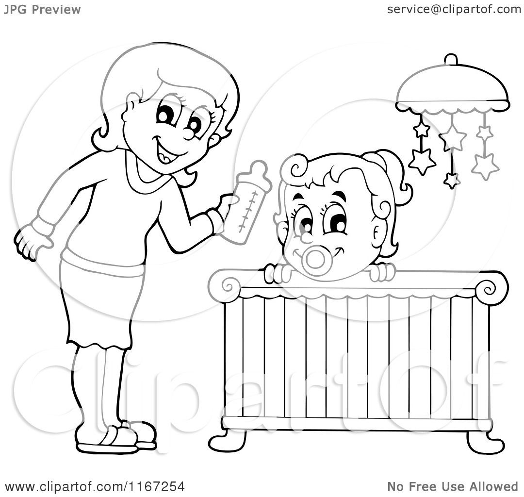 Cartoon Of An Outlined Mother Giving Her Daughter A Bottle