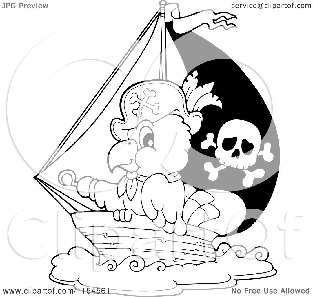 Cartoon Of An Outlined Pirate Parrot In A Ship