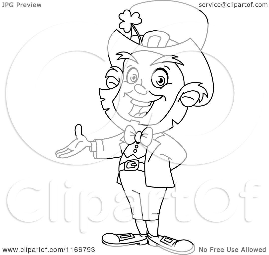 Cartoon Of An Outlined Presenting Leprechaun