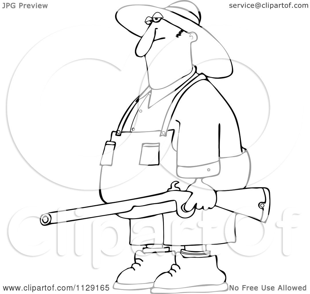 Cartoon Of An Outlined Redneck Hillbilly Man Carrying A