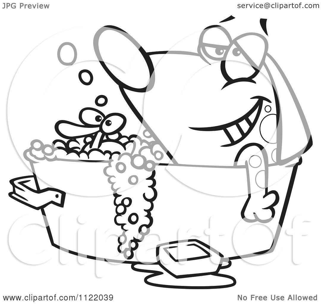 Cartoon Of An Outlined Relaxed Dog Bathing In A Tub With A