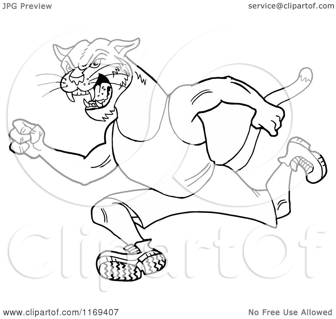 Cartoon Of An Outlined Running Cougar Track And Field