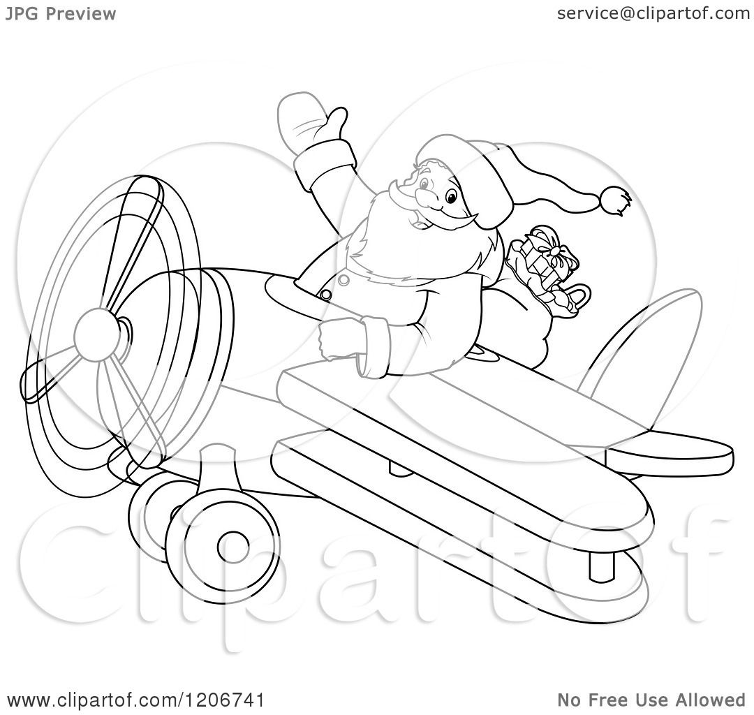 Cartoon Of An Outlined Santa Flying A Biplane And Waving