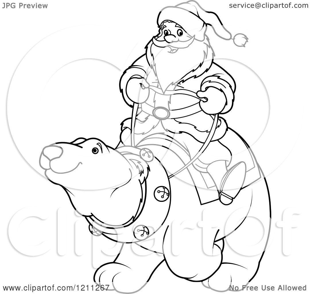 Santa Riding Polar Bear Clip Art Cliparts