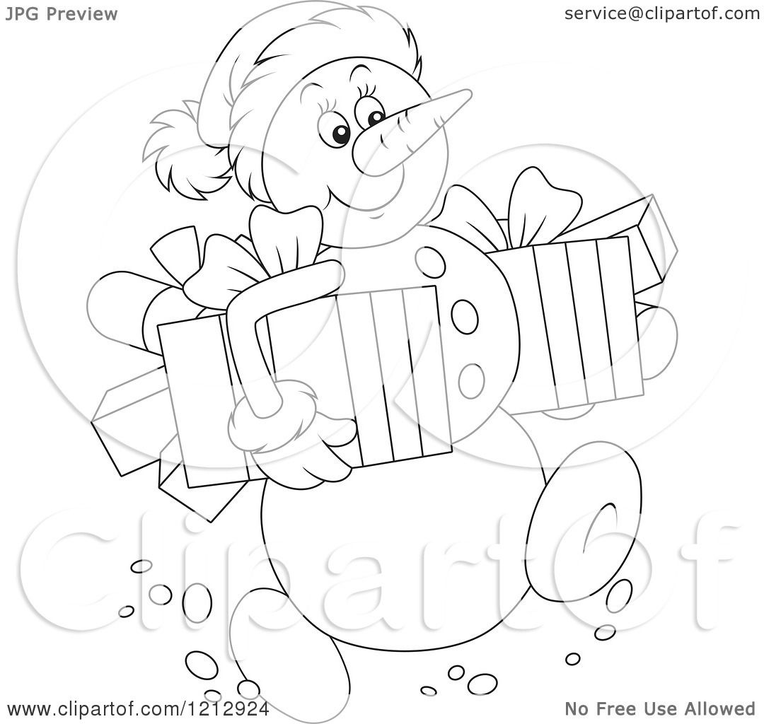 Cartoon Of An Outlined Snowman Carrying Christmas Presents