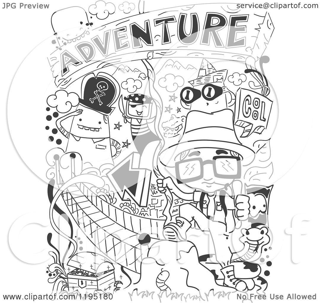 Cartoon Of Black And White Adventure Doodles